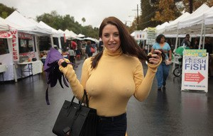 Natural tits in public